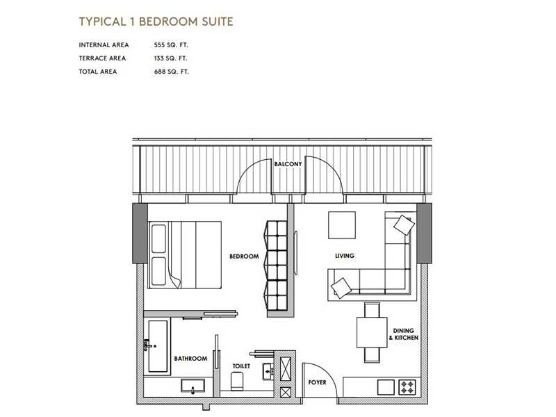 Typical 1 Bedroom Suite