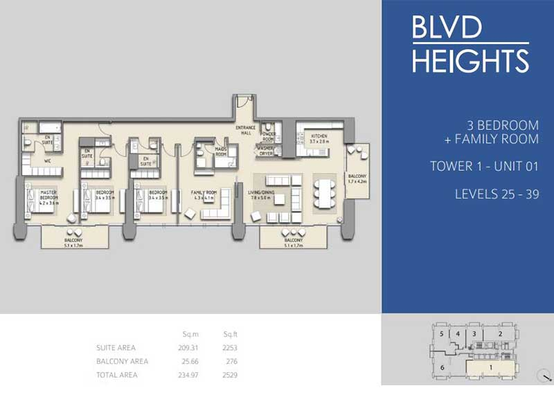 3 BEDROOM + FAMILY ROOM TOWER 1 - UNIT 01
