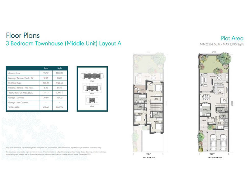 3 Bedroom Townhouse (Middle Unit) Layout A