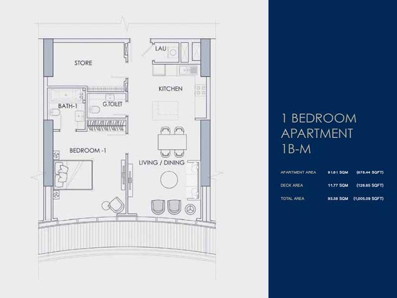 1 BEDROOM  APARTMENT  1B-M