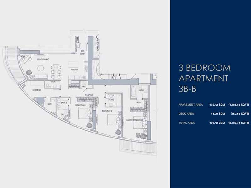 3 BEDROOM  APARTMENT  3B-B